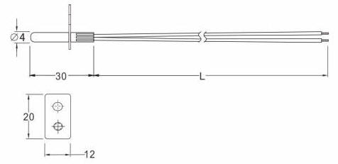 SW234 NTC Water Heater Flange Sensor Drawing