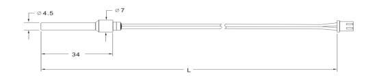 SW112 NTC Fridge Temperature Sensor Drawing