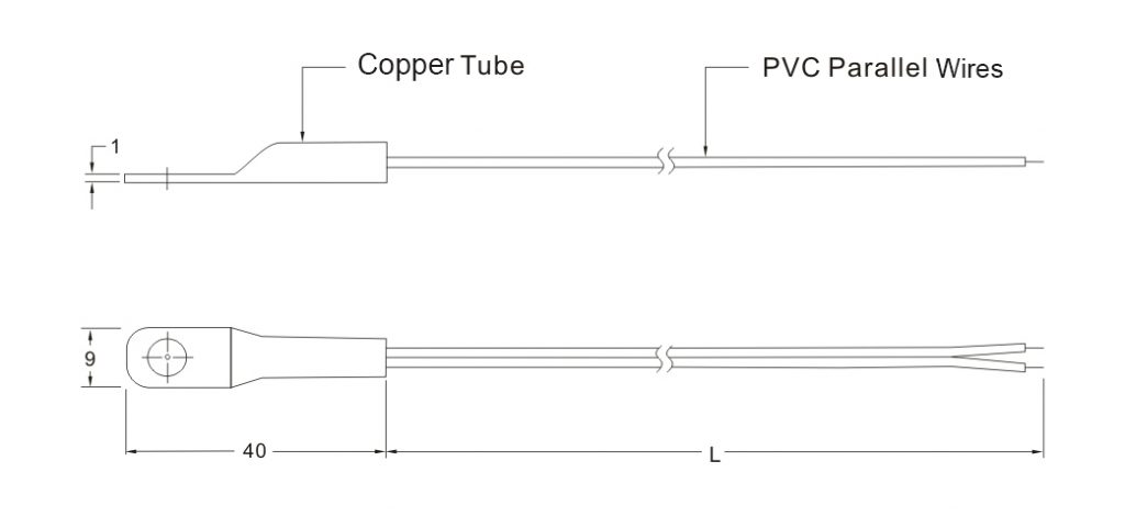 SW208 NTC Freezer Temperature Sensor Drawing